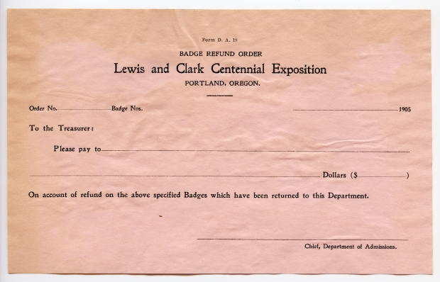 Badge Refund Order form (pink copy)