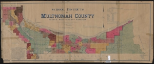 1915 map showing School districts of Multnomah County
